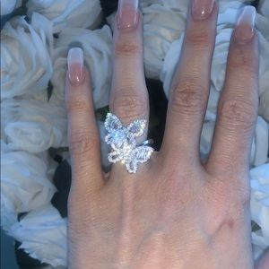 Double Butterfly Sterling CZ Ring